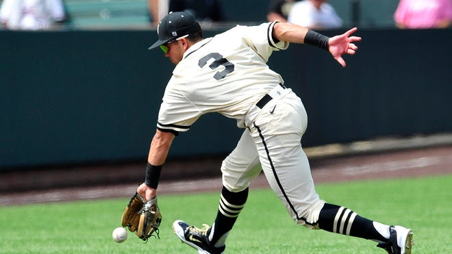 Vanderbilt's Vince Conde catches a ground ball against Stanford during the Super Regional on June 7.
