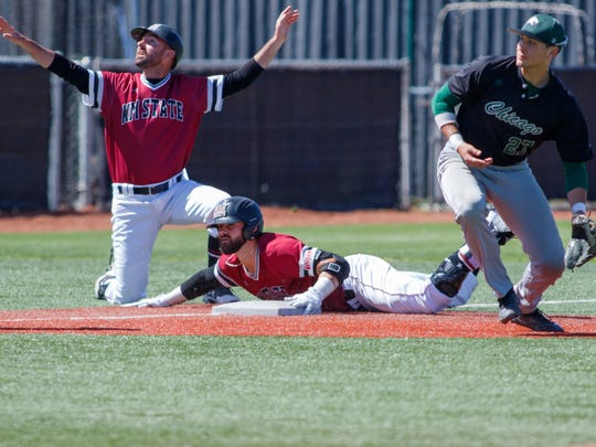 New Mexico State's Caleb Henderson slides in safe to third base after blasting a three run base clearing triple during NMSU verses Chicago State on Saturday at Presley Askew Field.