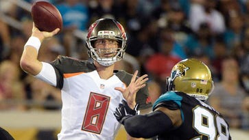 Tampa Bay Buccaneers quarterback Mike Glennon throws a pass in an exhibition game in Jacksonville on Aug. 20, 2016.