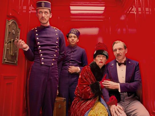 """Tony Revolori, Tilda Swinton and Ralph Fiennes in """"The"""