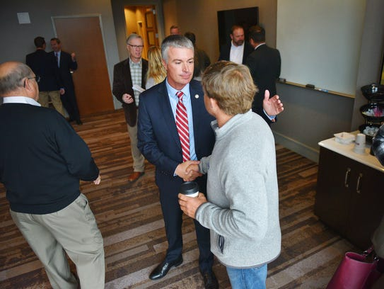 Attorney General Marty Jackley talks to supporters