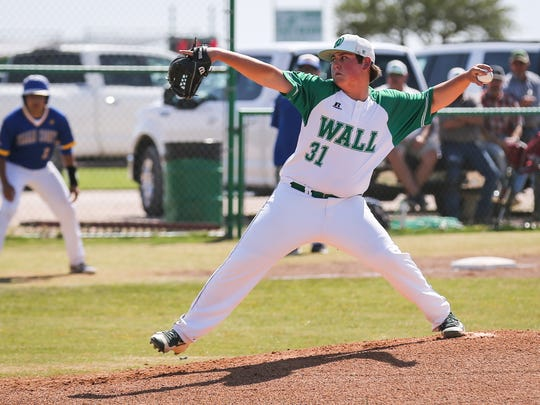 Wall's Sutton Hurst pitches against Reagan County Monday, April 16, 2018, at Wall.