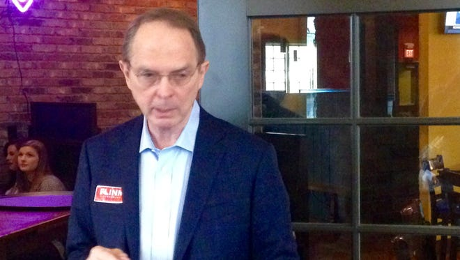 Shelby County's George Flinn spoke Monday to the Madison County Republican Party gathering. Greer and 21 other candidates are running for the 8th Congressional District seat.