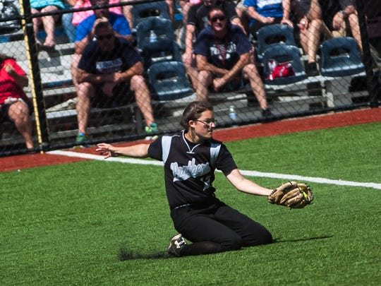 Bridgewater-Raritan's Tiffany Mazzagatti makes a sliding