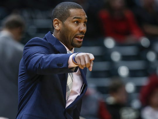 Butler Bulldogs head coach LaVall Jordan gets after his defense against the Purdue Boilermakers during the Crossroads Classic at Bankers Life Fieldhouse in Indianapolis on Saturday, Dec. 16, 2017.