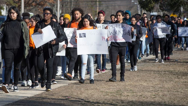Lakewood High School students take part in the national school walkout in protest of gun violence and politicians who refuse to make changes in policy.  Lakewood, NJWednesday, March14, 2018@dhoodhood