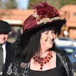 Ruth Ames won best hat at Tom and Carlee's C.A.F.E. Oscars Viewing Party.