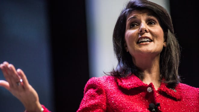 GREENVILLE, SC - SEPTEMBER 18:   South Carolina Governor and moderator of the Heritage Action Presidential Candidate Forum Nikki Haley speaks to the crowd Sept. 18, 2015, in Greenville, South Carolina.