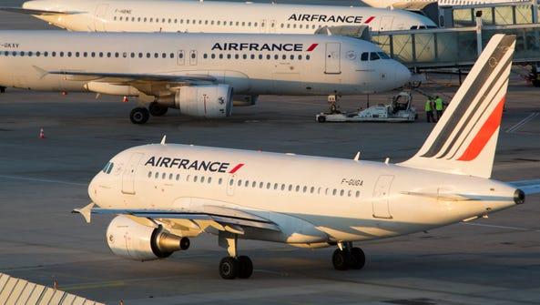 Air France planes at Paris Charles de Gaulle.