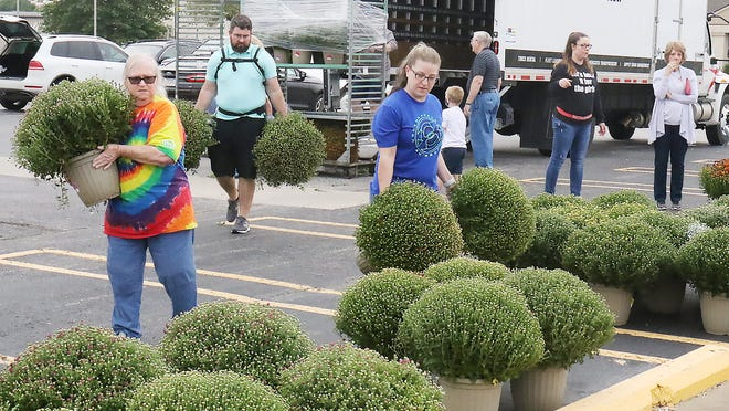 Volunteers unload mums to be sold at the Girls Shelter of Fort Smith annual mum sale fundraiser, Saturday, Sept. 26, in front of Brick City Emporium.