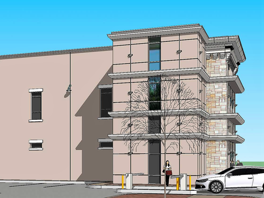 A rendering of a proposed three-story office building
