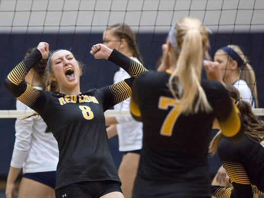 Red Lion's Logan Dontell celebrates a point with her