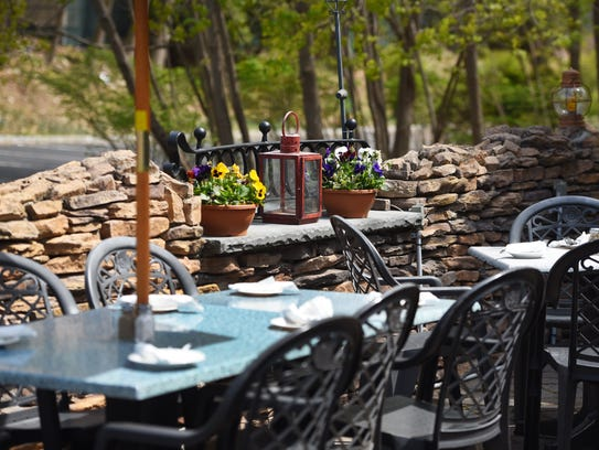 he outdoor patio at Hearth & Tap in Montvale,