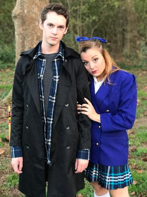 "Charlie Meredith is J.D. and Shelby Brown is Veronica in Acting Against Cancer's production of ""Heathers: the Musical."""