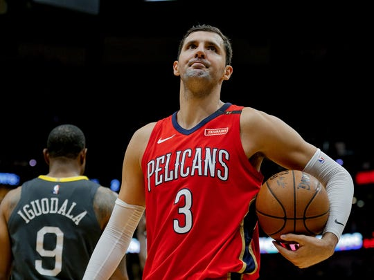 Pelicans forward Nikola Mirotic (3) reacts to an officials call during the second quarter in game four of the second round of the 2018 NBA Playoffs against the Golden State Warriors.