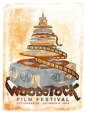The logo for the 2015 Woodstock Film Festival, which was created by Joy Buran and Noelle Melody.