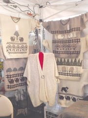 One booth featured handmade sweaters with original designs. The buttons for the cardigans were also created by the designer.