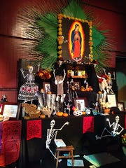Altars built and entered  for contest on display at the Dia de los Muertos Festival.
