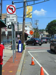 The closure of Main Street for the start of Complete Streets construction iin July 2016 meant no left turns onto Main from either Millburn Avenue or Essex Street.
