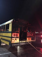 The Evansville Fire Department responded to a fire Tuesday night, Dec. 6, 2016, that damaged an EVSC school bus. The cause of the fire was not yet clear Tuesday.