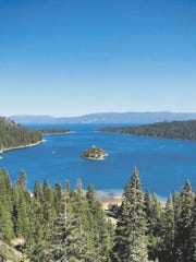 Lake Tahoe's Emerald Bay can be seen from California 89.