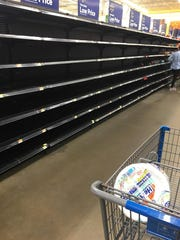 An empty bread aisle in Walmart near Humble, Texas,