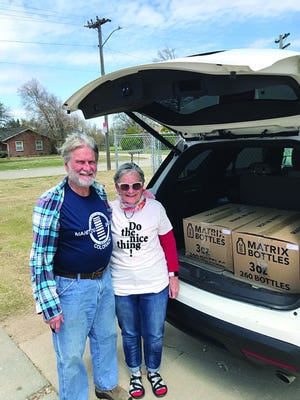 Stafford residents Steve and Linda Hiebert delivered two cases of hand sanitizer to Stafford County Hospital, donated by Boot Hill Distillery in Dodge City, for sharing with facilities in Stafford and St. John.