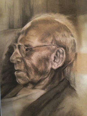 """""""Father,"""" charcoal and pencil drawing by Bren Sibilsky of Algoma, an Award of Excellence winner in the """"Celebrate the Healing Power of Art 2014"""" show at Manhattan Arts International in New York."""
