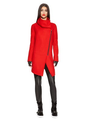 Punch up your fall wardrobe. DKNYPURE asymmetrical front coat, $595 at dkny.com.