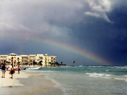 A rainbow over Playa del Carmen, which is where?