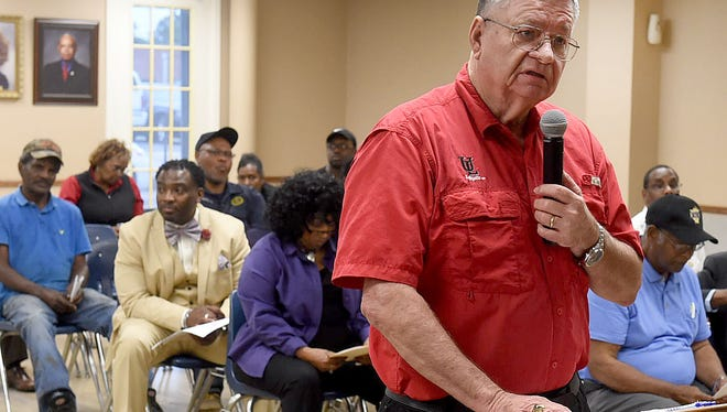 Ron Turner speaks to the Opelousas Board of Aldermen on Tuesday night concerning his attempt to settle an ongoing lawsuit with the city.