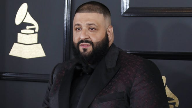 DJ Khaled arrives for the 59th annual Grammy Awards ceremony at the Staples Center in Los Angeles, California.