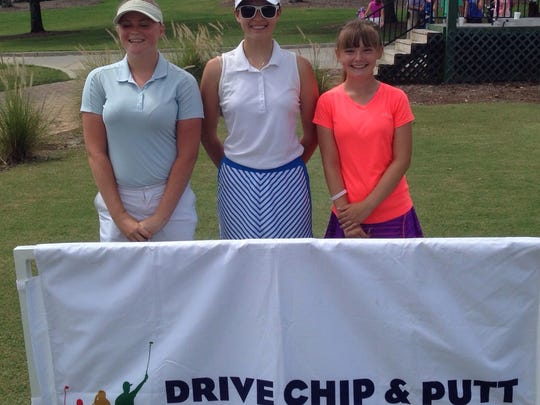 Claire Sattler of Bonita Springs (center) won the Girls 14-15 Division at the Drive, Chip and Putt Championship local qualifier at Stoneybrook Golf Club in Estero on Thursday, June 30, 2016. Megan Brooks of Fort Myers (left) and Sarah Matkowski of Cape Coral also advanced to the subregional on Aug. 13. (Greg Hardwig/Staff)