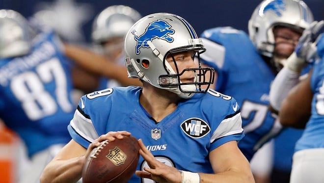 Detroit Lions quarterback Matthew Stafford (9).