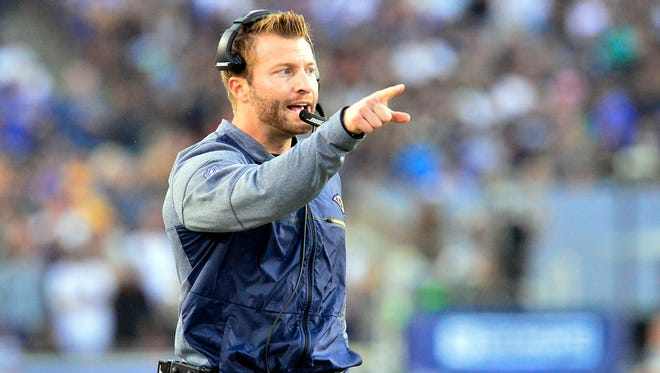 Los Angeles Rams head coach Sean McVay watches game action against the New Orleans Saints during the second half at the Los Angeles Memorial Coliseum.