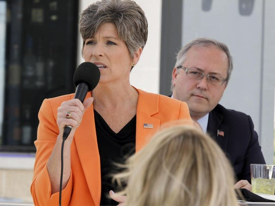 Sen. Joni Ernst speaks at the Altoona Chamber's Congressional Luncheon on Tuesday, May 30, 2017.