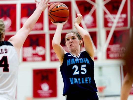 Hardin Valley's Abbey Cornelius (25) takes a shot during a game between Maryville and Hardin Valley at Maryville High School in Maryville, Tennessee on Thursday, January 11, 2018.