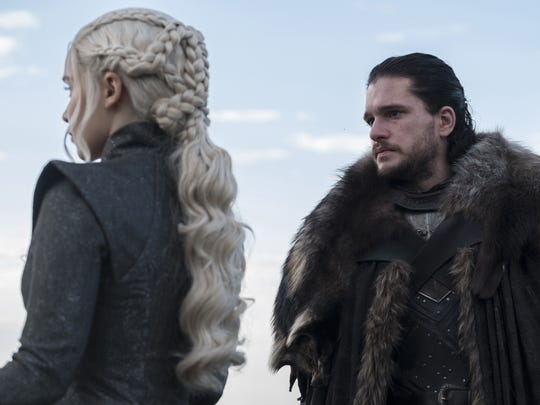 "Daenerys Targaryen (Emilia Clarke) and Jon Snow (Kit Harington) in a scene from a recent episode of ""Game of Thrones."" The series' eighth season will be its last."