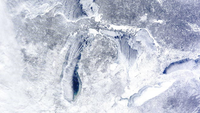 Satellite photo of Michigan and the Great Lakes on Feb. 16.