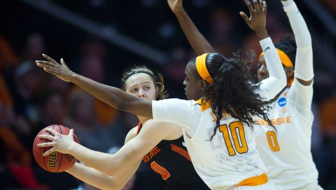 Tennessee's Meme Jackson and Rennia Davis press Oregon State's Mikayla Pivec in the second round of the NCAA tournament last season.