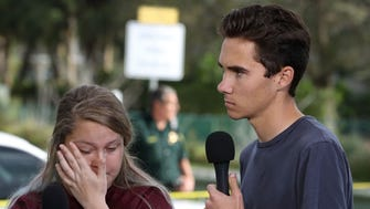 Students Kelsey Friend and David Hogg recount their stories about yesterday's mass shooting at Marjory Stoneman Douglas High School where 17 people were killed, on February 15, 2018 in Parkland, Florida.