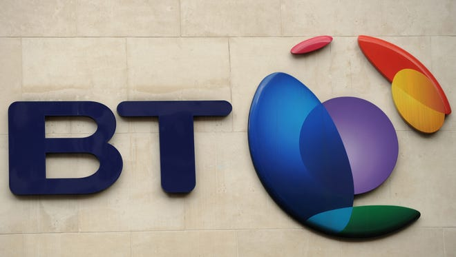 The BT Group logo pictured in London. BT Group, the British telecoms and TV company, said on Dec. 15, 2014 it was in exclusive talks to purchase mobile operator EE.