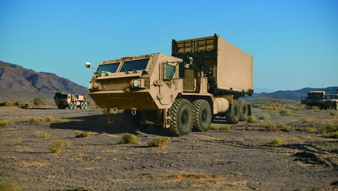 An HEMTT A4 heavy tactical vehicle from Oshkosh Defense.