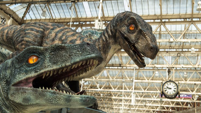 A general view of the dinosaurs during the 'Jurassic World' take over at Waterloo Station