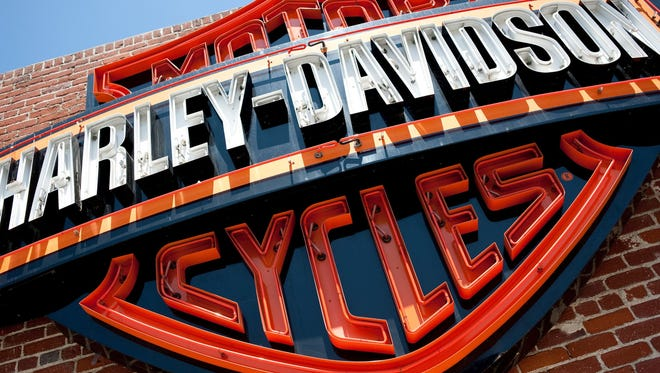 A recall has been issued for certain models of Harley-Davidson motorcycles. The store logo shown is in Glendale, Calif.
