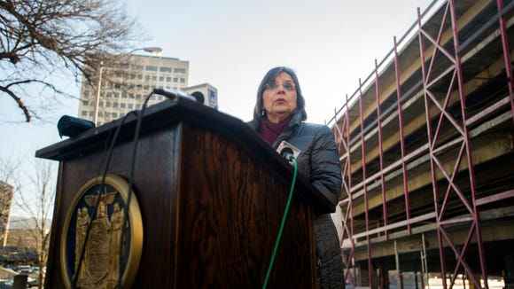Assemblywoman Donna Lupardo outlined a pair of initiatives designed to strengthen oversight of parking garages in New York state during a news conference Jan. 7 in Binghamton.