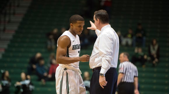 Binghamton University guard Marlon Beck with head coach Tommy Dempsey during the Bearcat's 62-52 loss to Stony Brook at home on Wednesday, Jan. 6, 2016.