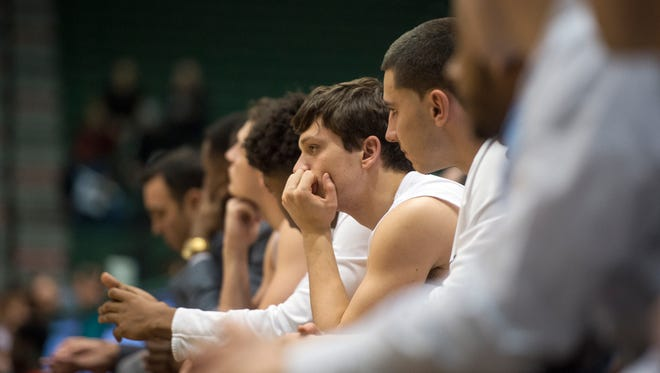 The Binghamton Universtiy bench during the second half of their 62-52 loss to Stony Brook at home on Wednesday, Jan. 6, 2016.