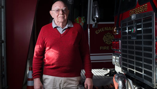 Dick Trebilcock, 83, has been a member of the Chenango Fire Company for 65 years. Today he serves as the captain of the fire police and also responds to fire calls as a driver.
