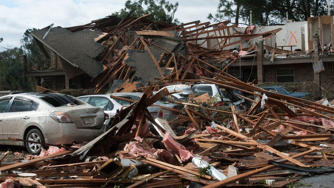 The Moorings Apartments off Old Spanish Trail Road received heavy damage from Tuesday night's suspected tornado.